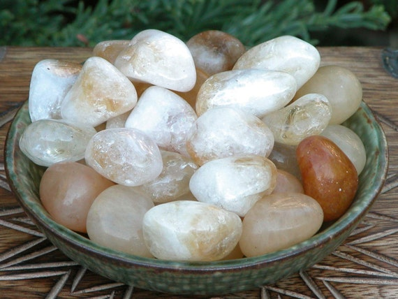 Citrine Tumbled Gemstones . Set of Two