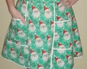 Santa on Mint- Vintage Style Adult Waist Apron