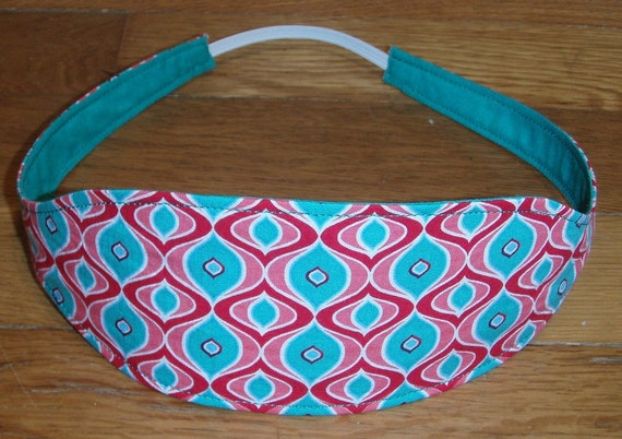 Reversible Fabric Wide Headband for Women- Pink and Teal