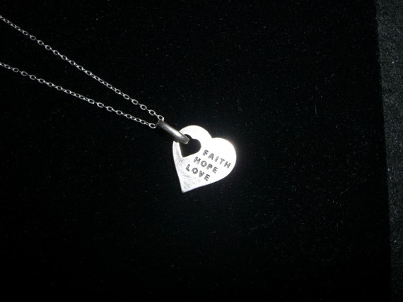 Breast Cancer Sterling Silver Necklace- FAITH, HOPE, LOVE
