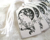 6 Snowy Owl Gift Tags, Black and White, Stamped