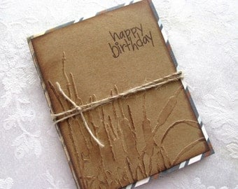 Masculine Birthday Card / Brown/ Reeds and Cattails