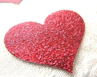 100 Red Glitter Hearts/ Confetti/ Die Cuts