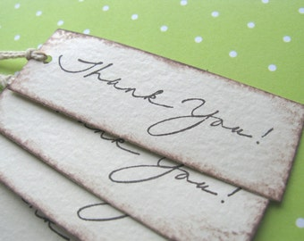 Thank You Gift Tags // Set of 12 // Hand Stamped // Hand Aged