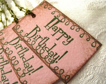 6 Pink and Green Happy Birthday Gift Tags