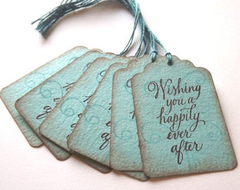 Wedding/Bridal Shower Gift Tags // Turquoise and Brown // Vintage Inspired // Set of 6