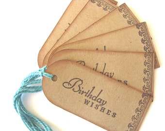 6 Vintage Inspired Birthday Gift Tags, Stamped