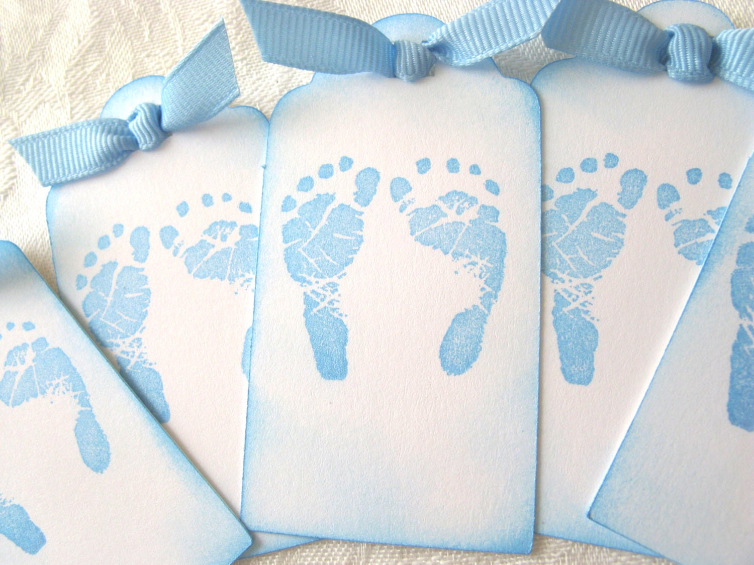 Baby Boy Gift Tags : Babyshower gift tags blue baby feet by mycardcupboard