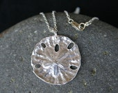Sand Dollar Necklace, Fine Silver, Sand Dollar Pendant, Beach Jewelry, Nautical Jewelry, Made in Hawaii, Gift for Her