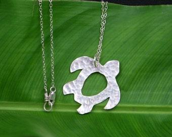 Sea Turtle Necklace, Fine Silver Hawaiian Honu, Hwaiian Sea Turtle, Beach Jewelry, Gift for Her, Gift from Hawaii, Under the Ocean