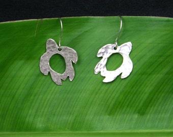 Turtle Earrings, Silver Turtle Earrings, Hammered Silver Sea Turtle Earrings, Hawaiian Sea Turtle Earrings, Hammered Turtle Earrings, Honu