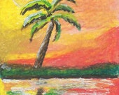 Palm Tree ACEO original mixed media painting at sunset