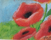 ACEO original poppies acrylic  painting