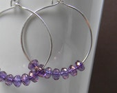 Light Purple Beaded Silver Hoop Earrings Handmade -  Anniversary - Gift - Under 25 Dollars
