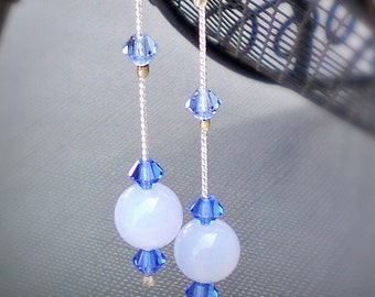 Earrings Long Drop Blue Lace Agate and Swarovski Crystal  - Handmade - Anniversary - Birthstone - Gemstone - Droplet - Linear Drop