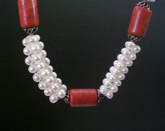 Handmade Hearingbone Stich Pearls And Coral Necklace - Anniversary - Birthday - Gift