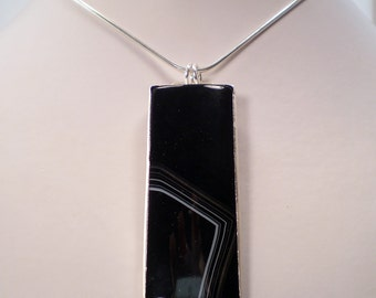 Artisan Black Onyx Quartz Pendant Necklace - Statement- Handmade - Sterling Silver - Geometric - Anniversary - Birthstone - Gemstone