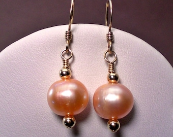 Large Pink Pearl And Gold Drop Earrings; Freshwater Pearl Earrings; Sweet 16 Gift;  Anniversary Birthday Gift for her;  Workplace Jewelry