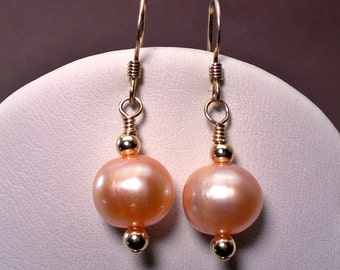 Pink and Gold Natural Pearls Earrings handmade - Dangle -  Anniversary - Birthday - Wedding - Bridesmaid Earrings Gift