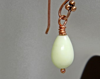 Copper and Chrysoprase Earrings Handmade - Birthday -Gift - Anniversary - Under 20 Dollars