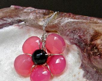 Deep Pink Chalcedony Quartz Dainty Flower Pendant Necklace - Women - Girls - Teens - Prome - Delicate