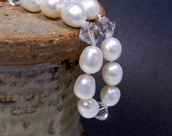 Hand Knotted Necklace Natural Pearls and Crystal In White - Fresh Water Pearls - Anniversary - Birthday - Gift - Under 100 Dollars - Classic