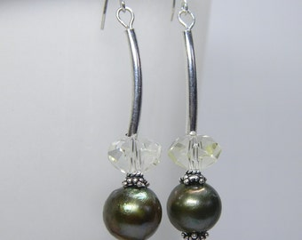 Green Curvy Natural Pearls and Crystal Earrings - Handmade - Sterling Silver - Maid Of Honor Gifts - Bridesmaids GiftAnniversary - Birthday