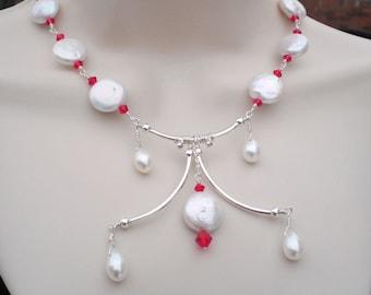 Exquisite handmade Pearl statement Necklace - Freshwater Bib Necklace in Sterling Silver - Wedding - Birthday - Anniversary