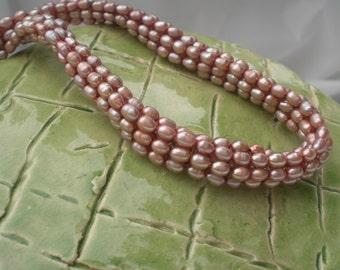 40 % Off Tubular Herringbone Freshwater Pearls Necklace In Light Brown