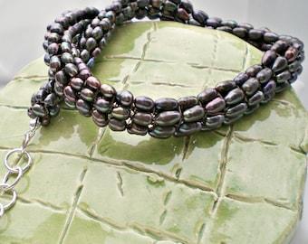 Tubular Herringbone Pearls Necklace In Dark Brown - Crochet - Birthday - Anniversary