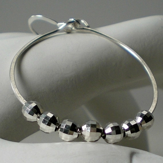 40 Percent Off Sale Artisan Silver Disco Ball Hoop Earrings