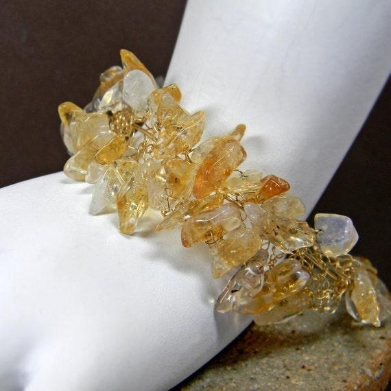 Handmade Wire Crochet Citrine Quartz Bracelet - Gold Filled -Gemstone - November Birthstone - Anniversary - wide - Gemstone
