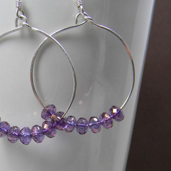 Light Purple Beaded Silver Hoop Earrings Handmade -  Anniversary - Gift - Under 25 Dollars