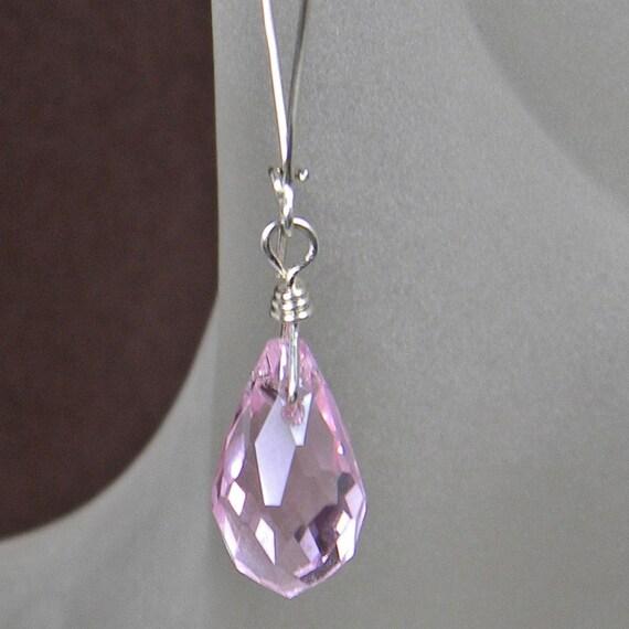 Light Pink Teardrop Glass Earrings Handmade -Latchback - Sterling Silver - Women - Girls -Teens