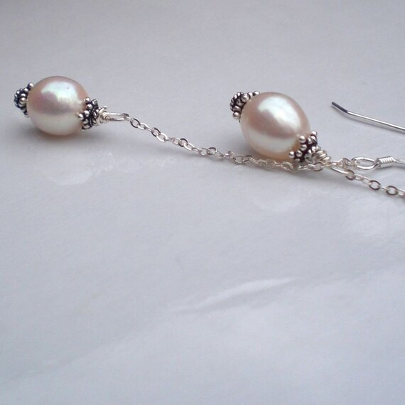 Lean and Sexy Stiletto White Natural Pearls Earrings