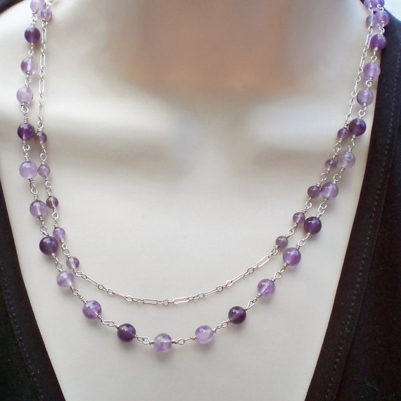 Handmade  Amethyst and Silver Chain Two Strand Necklace - Anniversary - Birthday