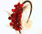 Gloria - Red Flower and Feather Headband