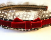 Julia -  Feather Headband and Red Velvet Ribbon