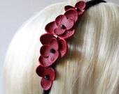 Tori - Red Leather Flower Headband