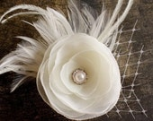 Hair Clip Wedding Flower Feather Ivory White Pearl