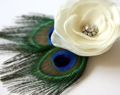 Flower and Peacock Feathers Wedding Fascinator Hair Clip White or Ivory