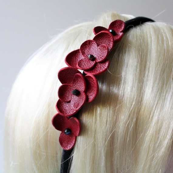Tori - Red Leather Flower Headband