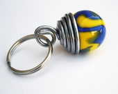 Yellow and Blue Marble KeyChain