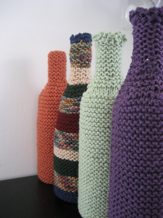 Knitting Pattern Wine Bottle Cover : knit wine bottle cover