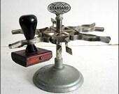Vintage 1940's  Standard Industrial Office Metal Desk Top Rotating Rubber Stamp Holder for 6 Stamps