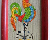 Colorful Vintage Metal Kitchen Tray with Big Rooster, Weathervane, Red Yellow Green Blue