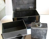 Antique Victorian Tin Lunch Box with Original Interior Fittings, Black and Gold Paint 1890's