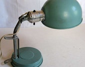 Vintage 1960's Teal Blue Metal Industrial or Office Adjustable Clip on Lamp, Good Working Condition