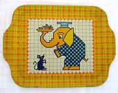 Vintage 1940's  Doll Lithographed Tin Tea Tray, Yellow Plaid w Elephant, Mouse