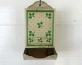 1940's Vintage Tin Kitchen Match Holder in Jade Green and White, Leaves and Polka Dots, Wall Hanger
